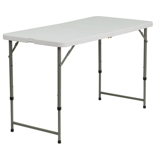24''W x 48''L Height Adjustable Bi-Fold Granite White Plastic Folding Table [DAD-YCZ-122Z-2-GG]