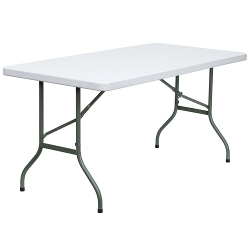 30''W x 60''L Granite White Plastic Folding Table [DAD-YCZ-152-GG]
