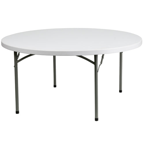 60'' Round Granite White Plastic Folding Table [DAD-YCZ-152R-GW-GG]