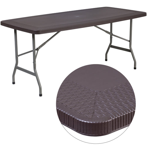 32.5''W x 67.5''L Brown Rattan Plastic Folding Table [DAD-YCZ-172-GG]