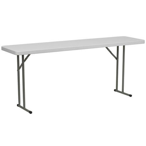 18''W x 72''L Granite White Plastic Folding Training Table [DAD-YCZ-180-GW-GG]