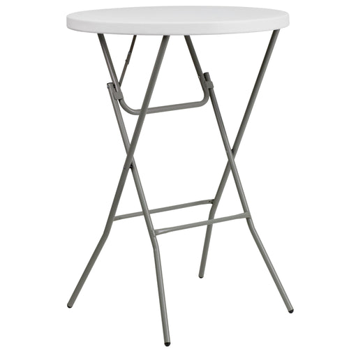 32'' Round Granite White Plastic Bar Height Folding Table [DAD-YCZ-80R-2-BAR-GW-GG]