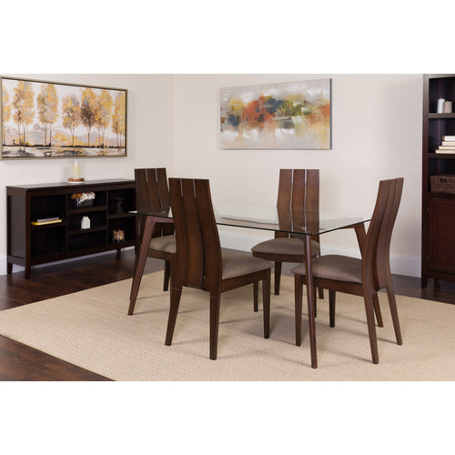 Hawthorne 5 Piece Espresso Wood Dining Table Set with Glass Top and Wide Slat Back Wood Dining Chairs - Padded Seats [ES-113-GG]