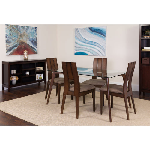 Rialto 5 Piece Espresso Wood Dining Table Set with Glass Top and Curved Slat Keyhole Back Wood Dining Chairs - Padded Seats [ES-116-GG]