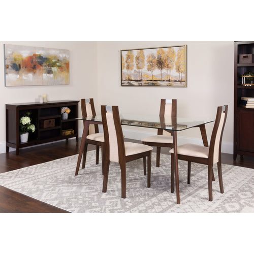 Patterson 5 Piece Espresso Wood Dining Table Set with Glass Top and Curved Slat Wood Dining Chairs - Padded Seats [ES-122-GG]
