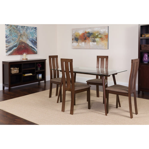 Escalon 5 Piece Espresso Wood Dining Table Set with Glass Top and Vertical Wide Slat Back Wood Dining Chairs - Padded Seats [ES-124-GG]