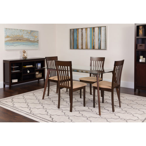 Hughson 5 Piece Espresso Wood Dining Table Set with Glass Top and Rail Back Wood Dining Chairs - Padded Seats [ES-125-GG]