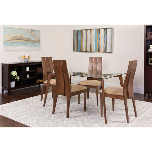 Hawthorne 5 Piece Walnut Wood Dining Table Set with Glass Top and Wide Slat Back Wood Dining Chairs - Padded Seats [ES-127-GG]