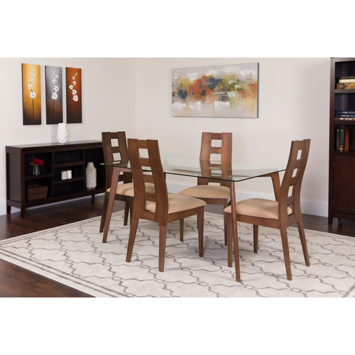 Ross 5 Piece Walnut Wood Dining Table Set with Glass Top and Window Pane Back Wood Dining Chairs - Padded Seats [ES-128-GG]