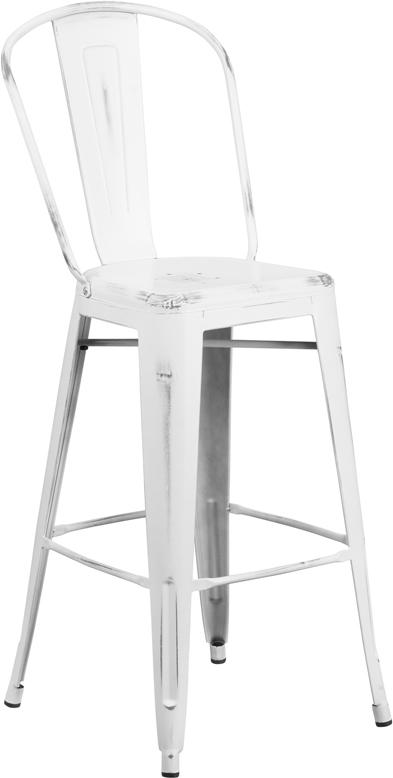 30'' High Distressed White Metal Indoor-Outdoor Barstool with Back [ET-3534-30-WH-GG]