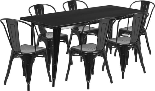 31.5'' x 63'' Rectangular Black Metal Indoor-Outdoor Table Set with 6 Stack Chairs [ET-CT005-6-30-BK-GG]