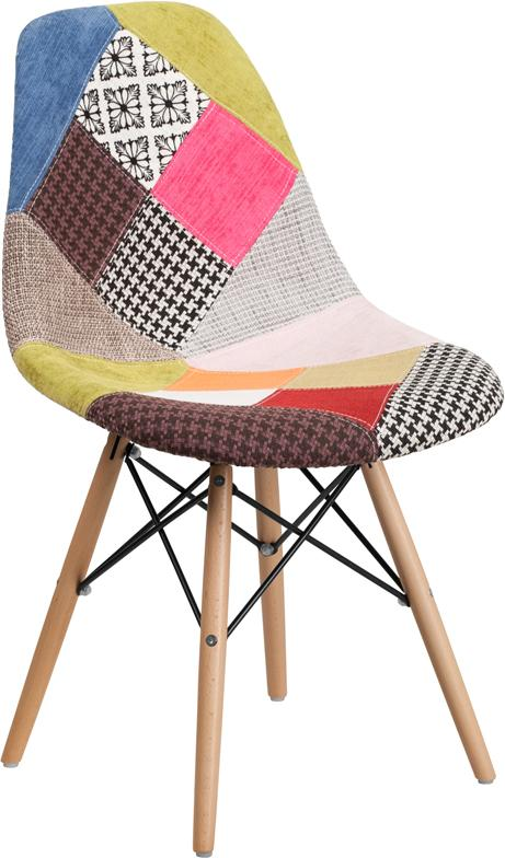 Elon Series Milan Patchwork Fabric Chair with Wood Base [FH-130-DCV1-D-GG]