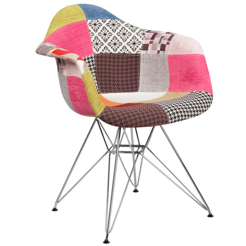 Alonza Series Milan Patchwork Fabric Chair with Chrome Base [FH-132-CCV1-D-GG]