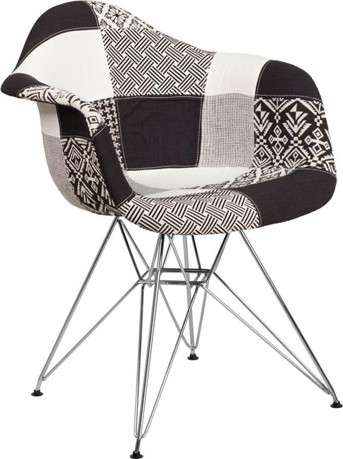Alonza Series Turin Patchwork Fabric Chair with Chrome Base [FH-132-CCV1-PK4-GG]