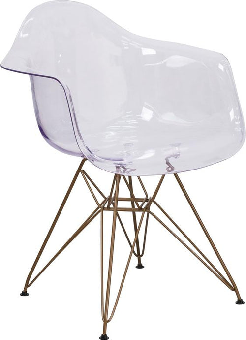 Alonza Series Transparent Side Chair with Gold Base [FH-132-CPC1-GG]