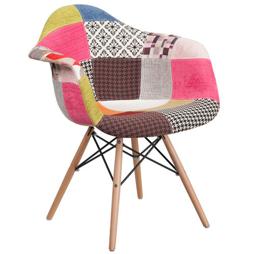 Alonza Series Milan Patchwork Fabric Chair with Wood Base [FH-132-DCV1-D-GG]