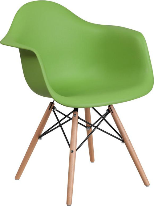 Alonza Series Green Plastic Chair with Wood Base [FH-132-DPP-GN-GG]