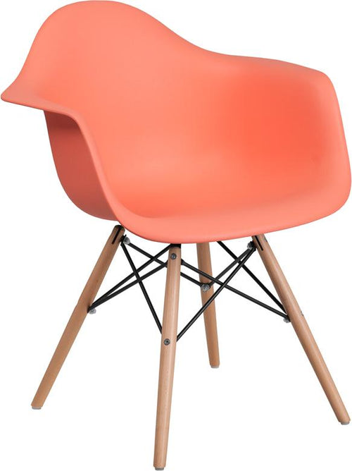 Alonza Series Peach Plastic Chair with Wood Base [FH-132-DPP-PE-GG]