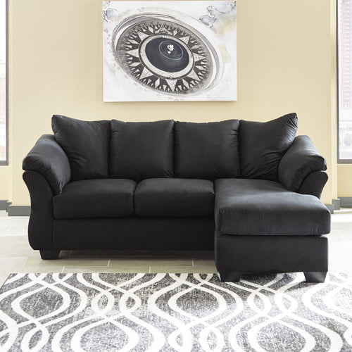 Signature Design by Ashley Darcy Sofa Chaise in Black Microfiber [FSD-1109SOFCH-BLK-GG]