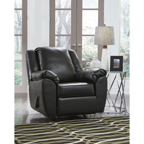 Benchcraft Fezzman Rocker Recliner in Black Leather [FSD-6529REC-BLK-GG]
