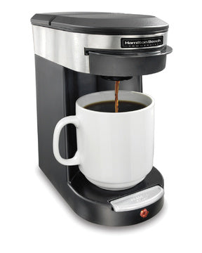 Hamilton Beach Deluxe 1 Cup Coffeemaker-Black/Stainless Steel HDC200S Series-Case of  6