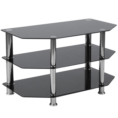 North Beach Black Glass TV Stand with Stainless Steel Metal Frame [HG-112457-GG]