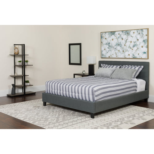 Chelsea Queen Size Upholstered Platform Bed in Dark Gray Fabric [HG-15-GG]