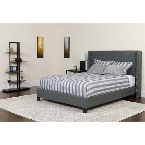 Riverdale King Size Tufted Upholstered Platform Bed in Dark Gray Fabric [HG-48-GG]