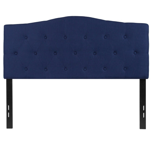 Cambridge Tufted Upholstered Full Size Headboard in Navy Fabric [HG-HB1708-F-N-GG]