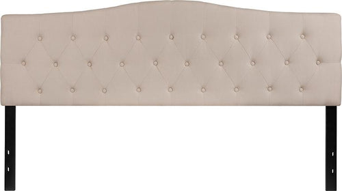 Cambridge Tufted Upholstered King Size Headboard in Beige Fabric [HG-HB1708-K-B-GG]