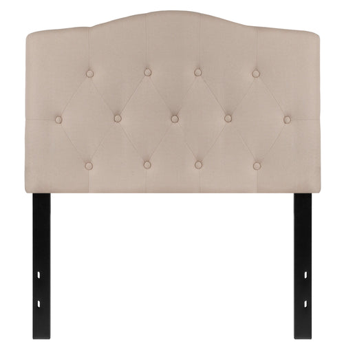 Cambridge Tufted Upholstered Twin Size Headboard in Beige Fabric [HG-HB1708-T-B-GG]
