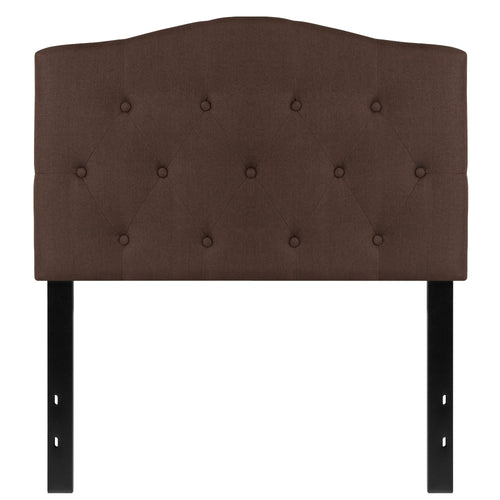 Cambridge Tufted Upholstered Twin Size Headboard in Dark Brown Fabric [HG-HB1708-T-DBR-GG]