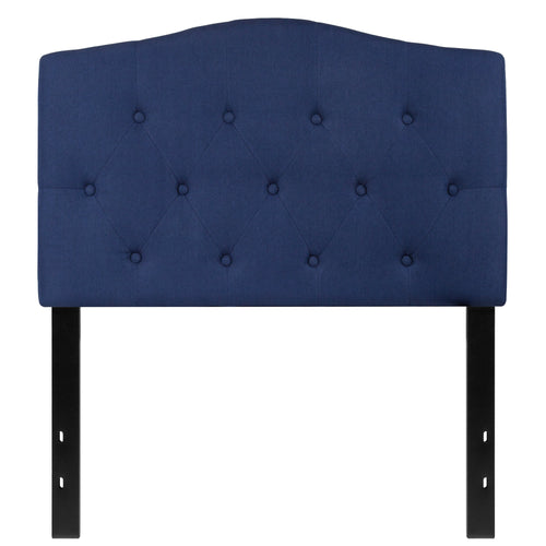 Cambridge Tufted Upholstered Twin Size Headboard in Navy Fabric [HG-HB1708-T-N-GG]