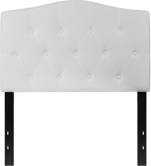 Cambridge Tufted Upholstered Twin Size Headboard in White Fabric [HG-HB1708-T-W-GG]