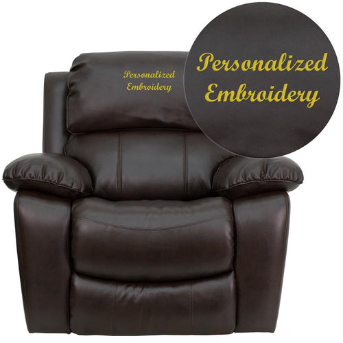 Personalized Brown Leather Rocker Recliner [MEN-DA3439-91-BRN-TXTEMB-GG]