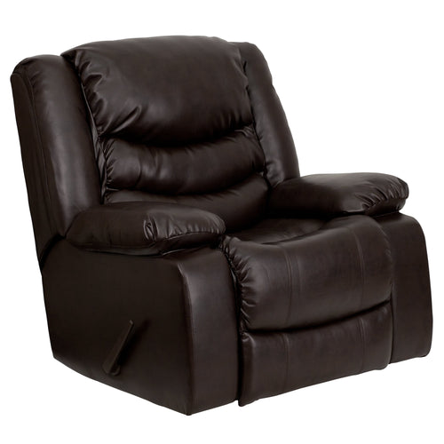 Plush Brown Leather Lever Rocker Recliner with Padded Arms [MEN-DSC01078-BRN-GG]