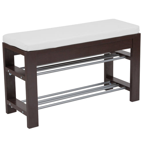 Bay Ridge Espresso Wood Finish Storage Bench with Cushion [NAN-JH-1709-GG]