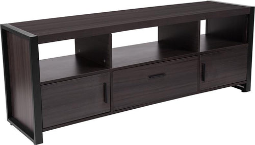 Thompson Collection Charcoal Wood Grain Finish TV Stand and Media Console with Black Metal Frame [NAN-JH-1732-GG]