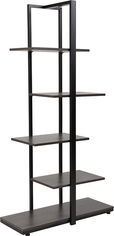 Homewood Collection Driftwood Finish 5-Tier Decorative Shelf with Black Metal Frame [NAN-JN-21706B-GG]