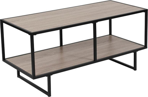 Midtown Collection Sonoma Oak Wood Grain Finish TV Stand with Black Metal Frame [NAN-JN-21744TV-GG]
