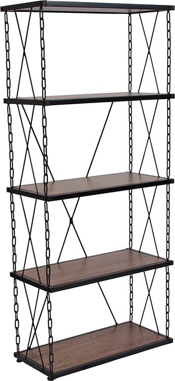 Vernon Hills Collection Antique Wood Grain Finish Four Shelf Bookshelf with Chain Accent Metal Frame [NAN-JN21720B5-GG]