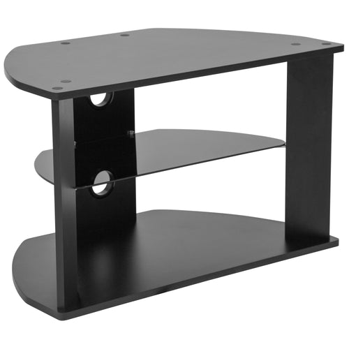 Northfield Black Finish TV Stand with Glass Shelves [NAN-RYDAL-GG]