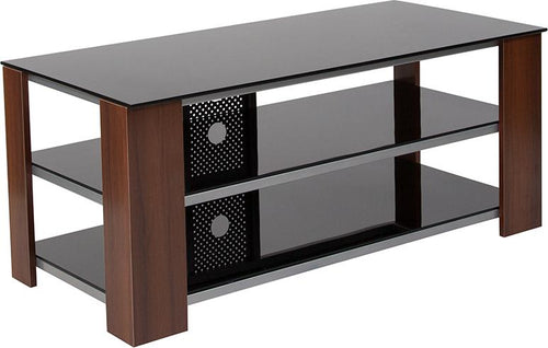 Montgomery Black TV Stand with Glass Shelves, Steel Accents and Mahogany Wood Grain Finish Frame [NAN-TV202-GG]