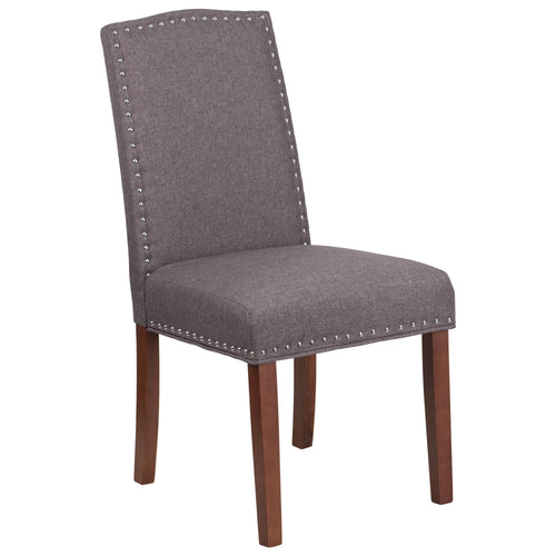 HERCULES Hampton Hill Series Gray Fabric Parsons Chair with Silver Nail Heads [QY-A13-9349-GY-GG]
