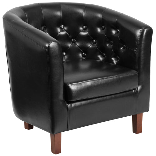 HERCULES Cranford Series Black Leather Tufted Barrel Chair [QY-B16-HY-9030-4-BK-GG]