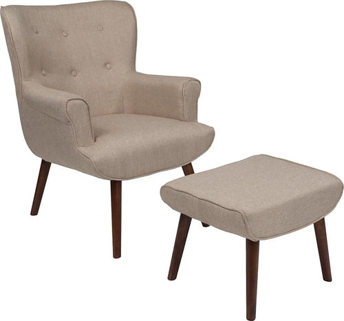 Bayton Upholstered Wingback Chair with Ottoman in Beige Fabric [QY-B39-CO-B-GG]