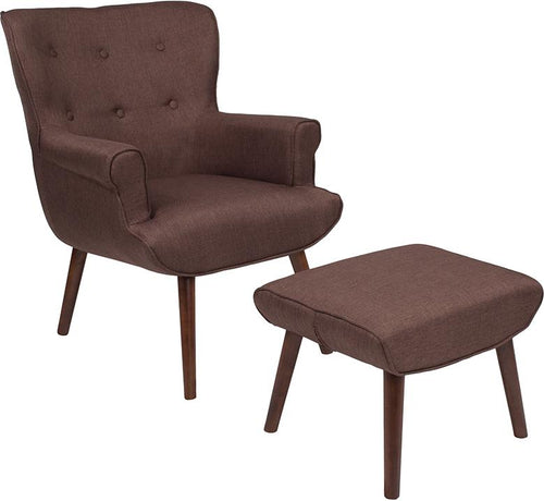 Bayton Upholstered Wingback Chair with Ottoman in Brown Fabric [QY-B39-CO-BRN-GG]