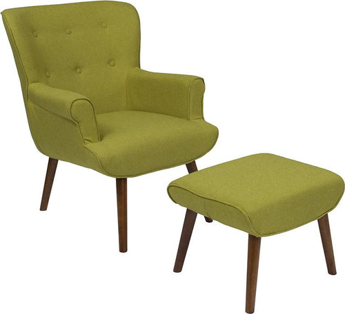Bayton Upholstered Wingback Chair with Ottoman in Green Fabric [QY-B39-CO-GRN-GG]