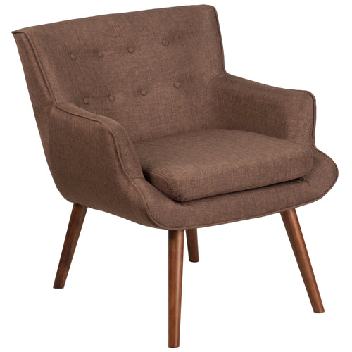 HERCULES Hayes Series Brown Fabric Tufted Arm Chair [QY-B84-BN-GG]