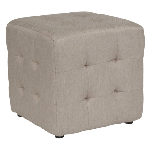 Avendale Tufted Upholstered Ottoman Pouf in Beige Fabric [QY-S02-B-GG]